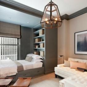 дизайн спальни гостиной 16 кв м декор