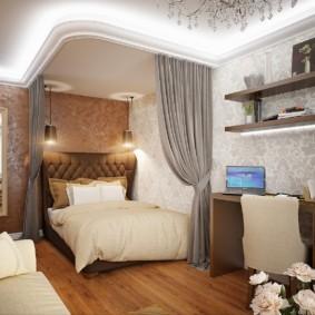 дизайн спальни гостиной 16 кв м декор идеи
