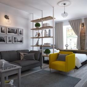 дизайн спальни гостиной 16 кв м обзор идеи