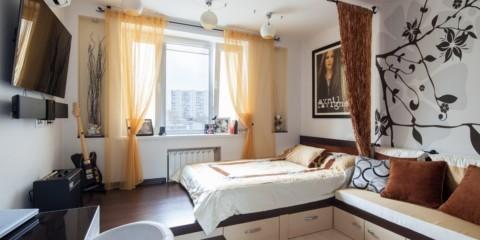 дизайн спальни гостиной 16 кв м фото дизайна
