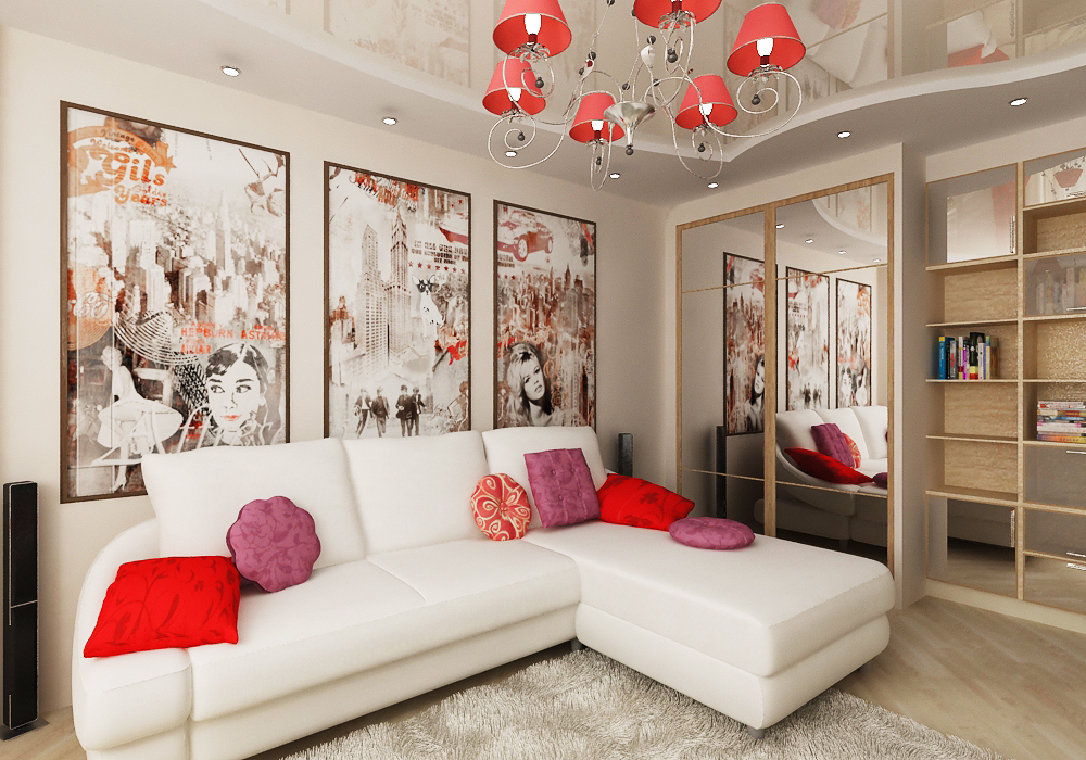 дизайн спальни гостиной16 кв м