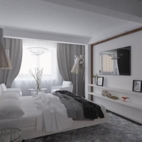 дизайн спальни 14 кв м в бело серых тонах