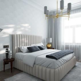 дизайн спальни 14 кв м кровать