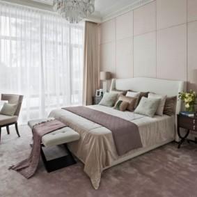 современная спальня в светлых тонах фото декор