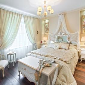 современная спальня в светлых тонах виды
