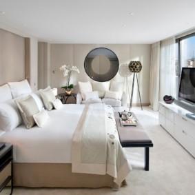 современная спальня в светлых тонах фото виды