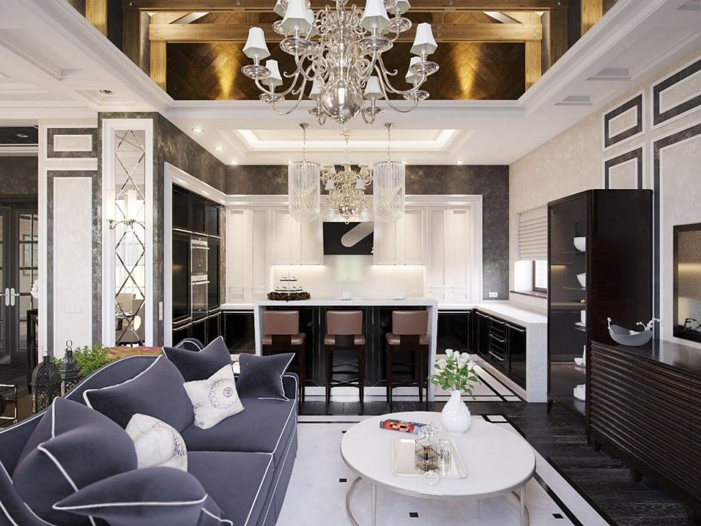 Интерьер вытянутой кухни-гостиной в стиле арт-деко