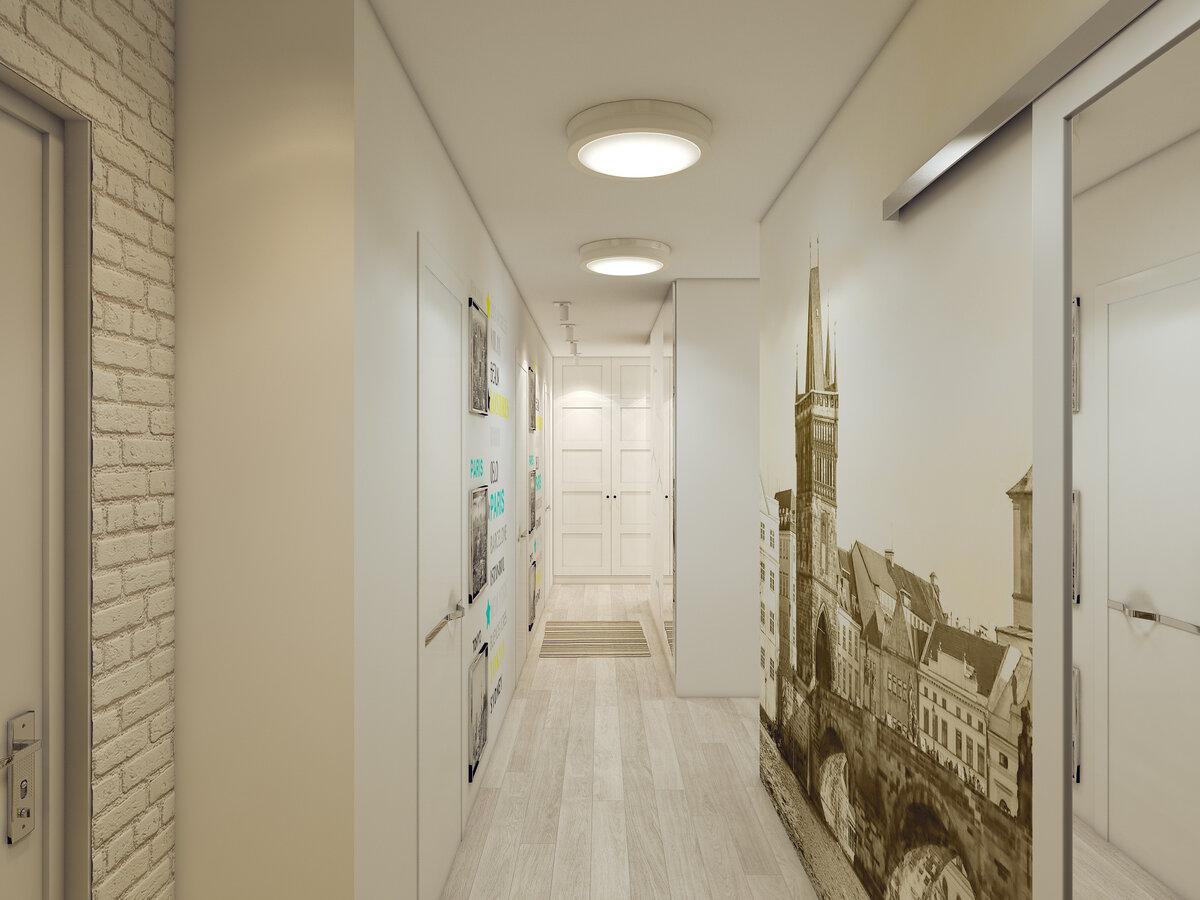 отдал дизайн длинного узкого коридора в квартире фото там