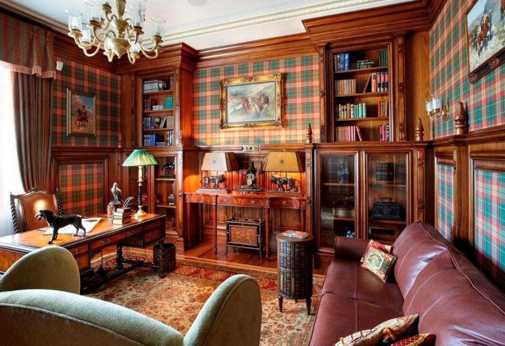 Гостиная в квартире с полками для книг
