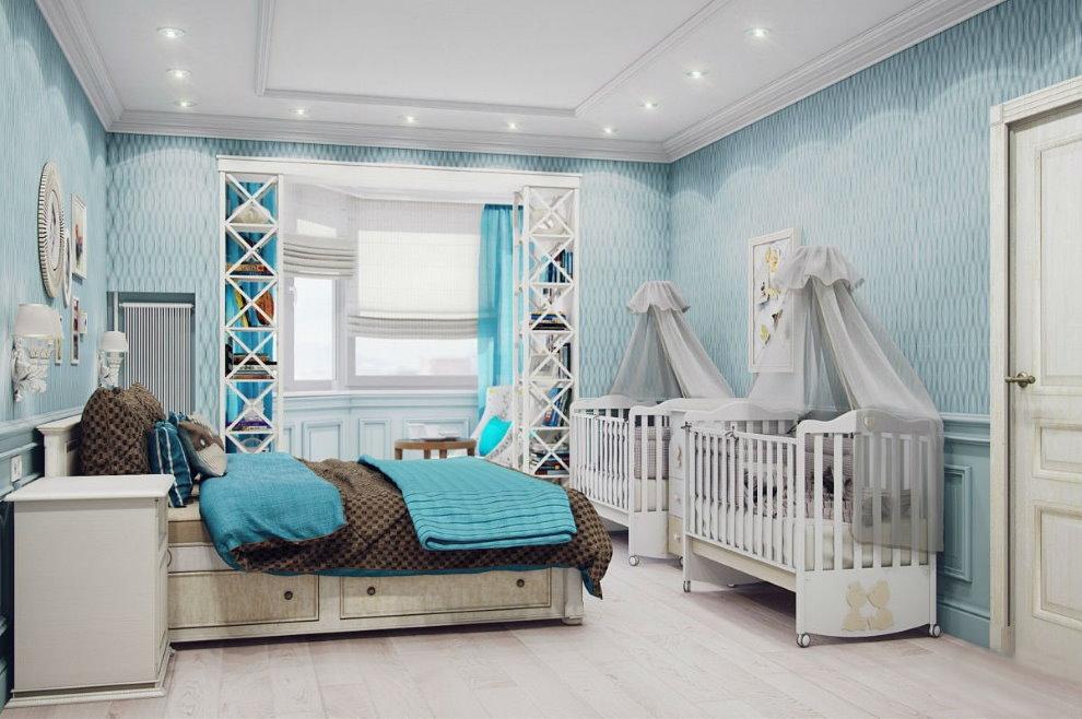 Дизайн спальни с двумя детскими кроватками
