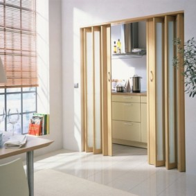 Складная дверь из гостиной в кухню