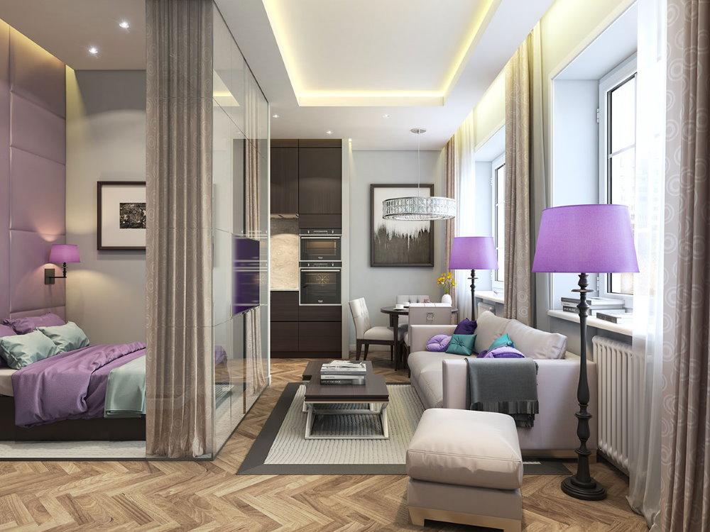 Акценты фиолетового цвета в однокомнатной квартире