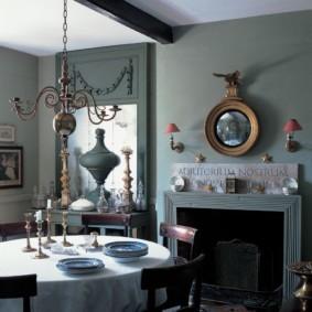 Серые стены комнаты в британском стиле
