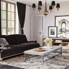 Интерьер гостиной английского стиля в светлых оттенках