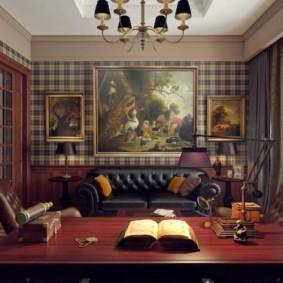 Картины в интерьере домашнего кабинета