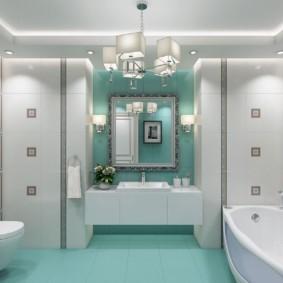 Дизайн ванной в стиле неоклассика с бирюзовым полом
