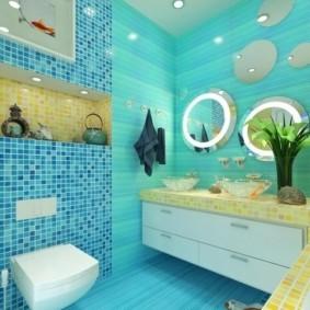 круглые зеркала на стене ванной