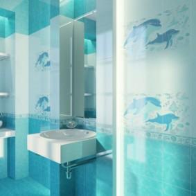 Изображение дельфинов на керамической плитке