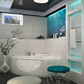 Угловая ванна со стеклом и джакузи
