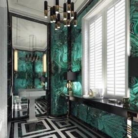 Жалюзи на окне ванной в стиле арт деко