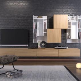 Деревянные фасады мебели в гостиной