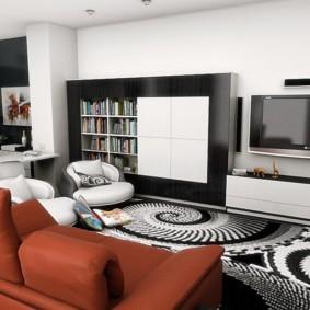 Коричневая обивка раскладного дивана