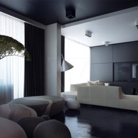 Интерьер гостиной в темных оттенках
