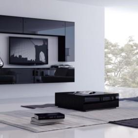 Черная мебель в гостиной стиля минимализм