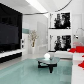 Красные подушки на мягкой мебели