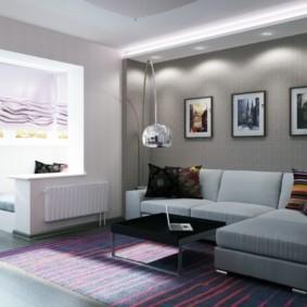 Декор модульными картинами стены над диваном