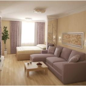 Дизайн общей комнаты в однушке-сталинке
