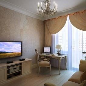 Гостиная с балконом в стиле классика