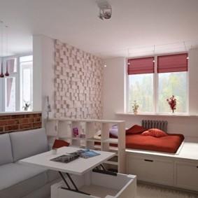 Спальное место на подиуме с ящиками