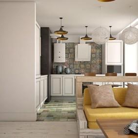 Кухня с угловым гарнитуром из дерева