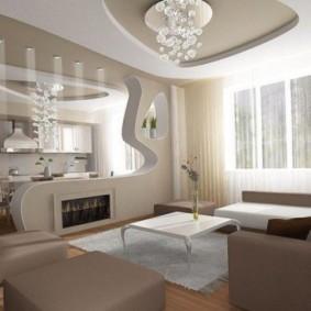 Двухуровневый потолок в квартире панельного дома