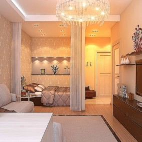 Освещение комнаты в квартире брежневке
