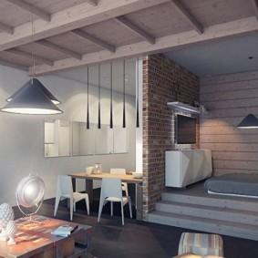 Дизайн квартиры студии со спальным местом на подиуме