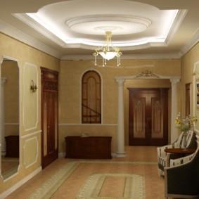 Двухуровневый потолок с гипсовой лепниной