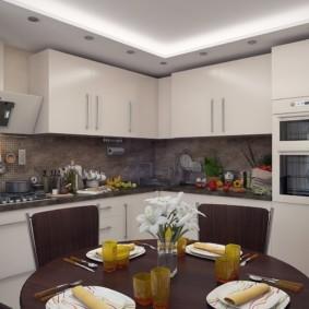 Угловой гарнитур в кухне квартиры