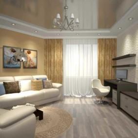 Кирпичная стена в гостиной комнате