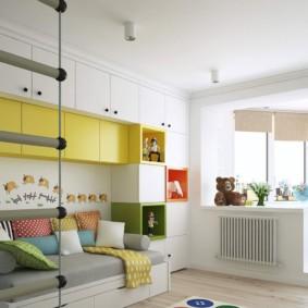 Дизайн детской комнаты с лоджией