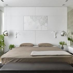 Светлая спальня в стиле минмализма