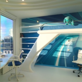 Интерьер детской комнаты в квартире стиля хай-тек