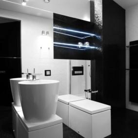 Высокие умывальники в ванной стиля хай тек