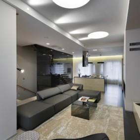 Современная гостиная вытянутой формы
