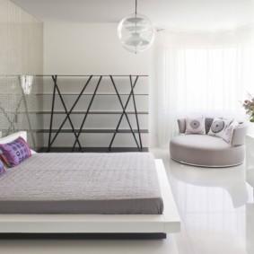 Дизайн спальни супругов в стиле хай тек