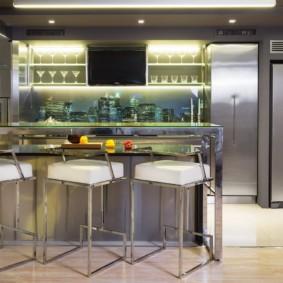 Барная стойка в кухне современного стиля