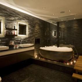 Интерьер ванной комнаты в темных тонах