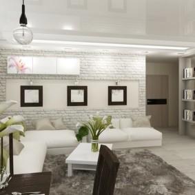 Кирпичная кладка в интерьере жилой комнаты