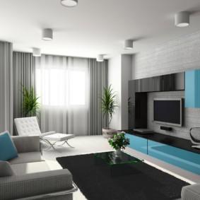 Бирюзовая подушка на диване в гостиной